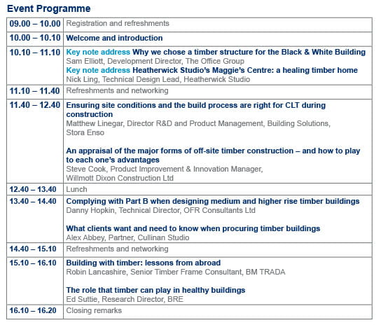 Better Timber Buildings Conference Agenda