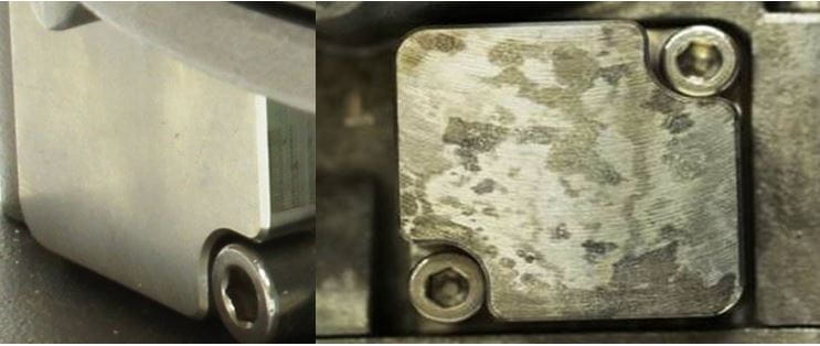 metallic surface compromised by acid
